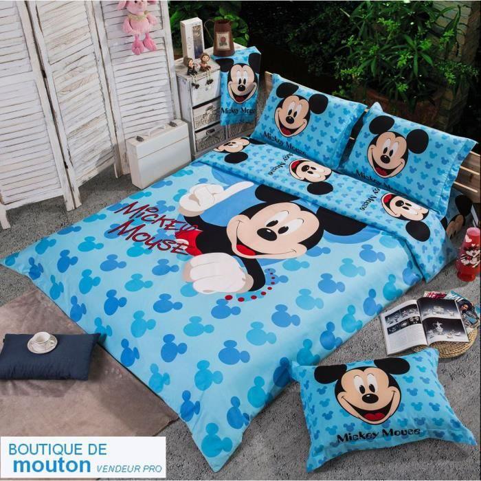 parure de lit mickey mouse coton 200 230 cm 3d effet 4 piece achat vente housse de couette. Black Bedroom Furniture Sets. Home Design Ideas