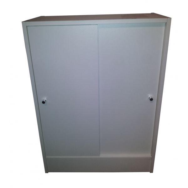 Meuble de rangement 2 portes coulissantes blanches achat for Meuble de rangement haut