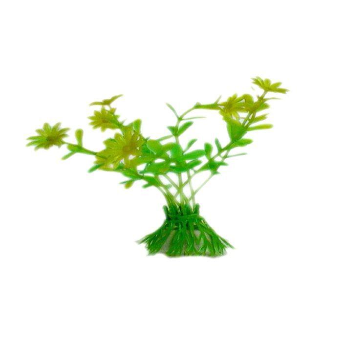 Plante artificielle aquarium jaune plastique achat for Deco plante artificielle