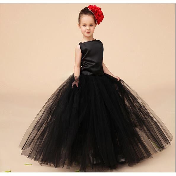 enfant fille mariage tutu robe f te mousseline c r monie princesse robe noir noir achat. Black Bedroom Furniture Sets. Home Design Ideas