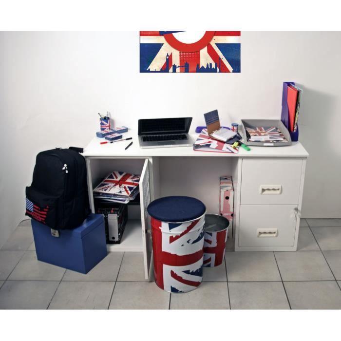 Bureau design en m tal blanc 130x50x68cm achat vente for Bureau 130x50
