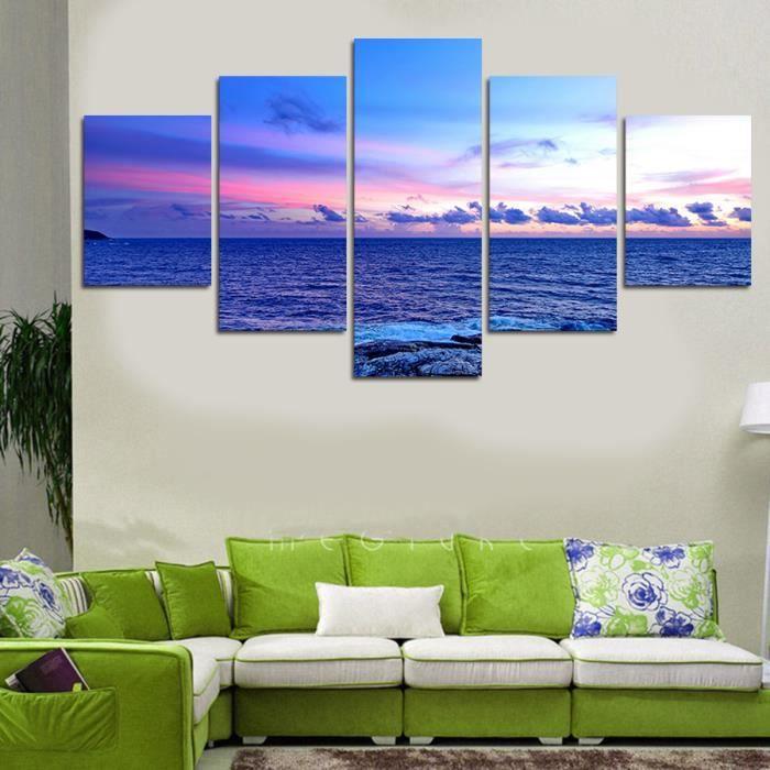 pas de maison de cadre d coration peindre peinture toile mer coucher de soleil ciel bleu violet. Black Bedroom Furniture Sets. Home Design Ideas