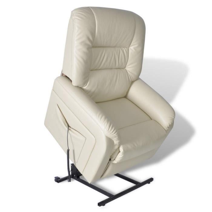 Fauteuil de relaxation lectrique relevable cr me achat vente fauteuil be - Fauteuil relevable electrique ...