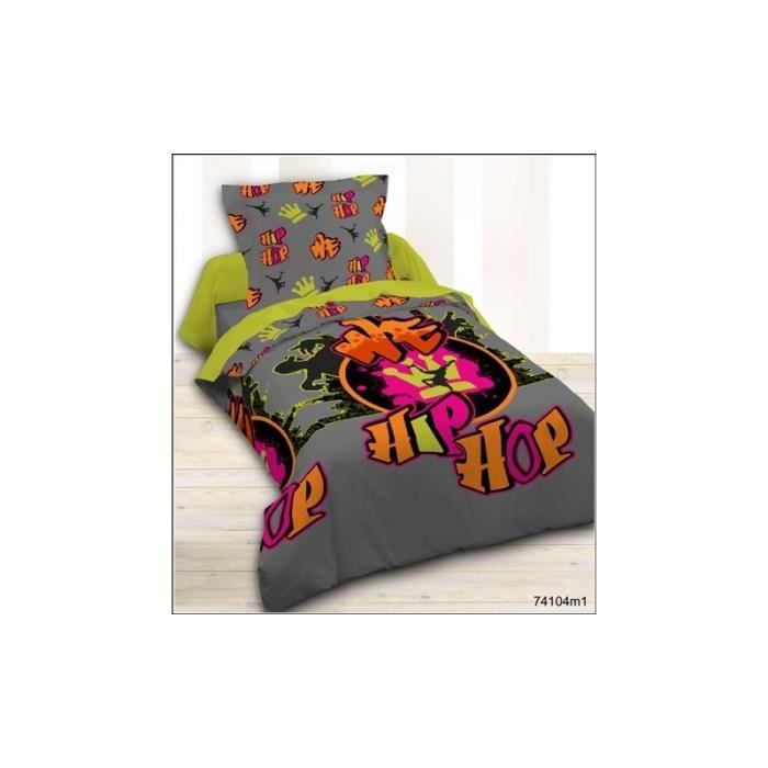 parure de couette 2 pi ces hip hop 100 coton 57 fils cm2 achat vente parure de couette. Black Bedroom Furniture Sets. Home Design Ideas