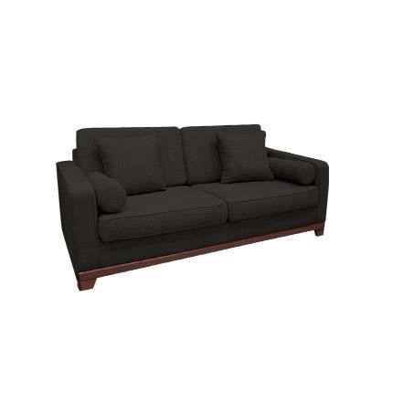 Canap fixe 2 places en tissu 100 polyester anthracite for Canape fixe 2 places tissu
