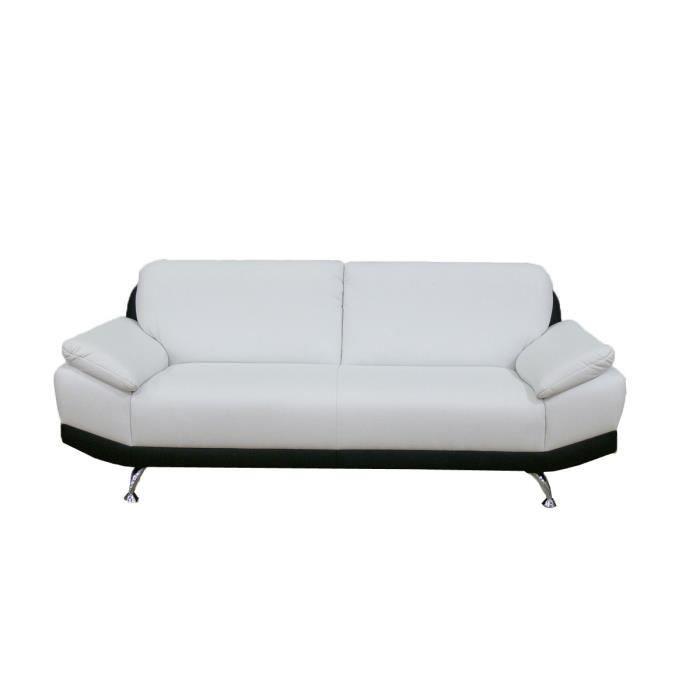 Canap 2 places pu noir et blanc hudson achat vente canap sofa divan - Cdiscount soldes canape ...