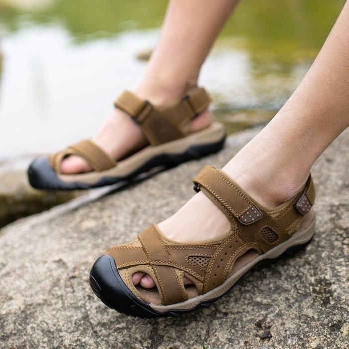sandales sandales en cuir en cuir des hommes de sandales hommes chaussures marron achat. Black Bedroom Furniture Sets. Home Design Ideas