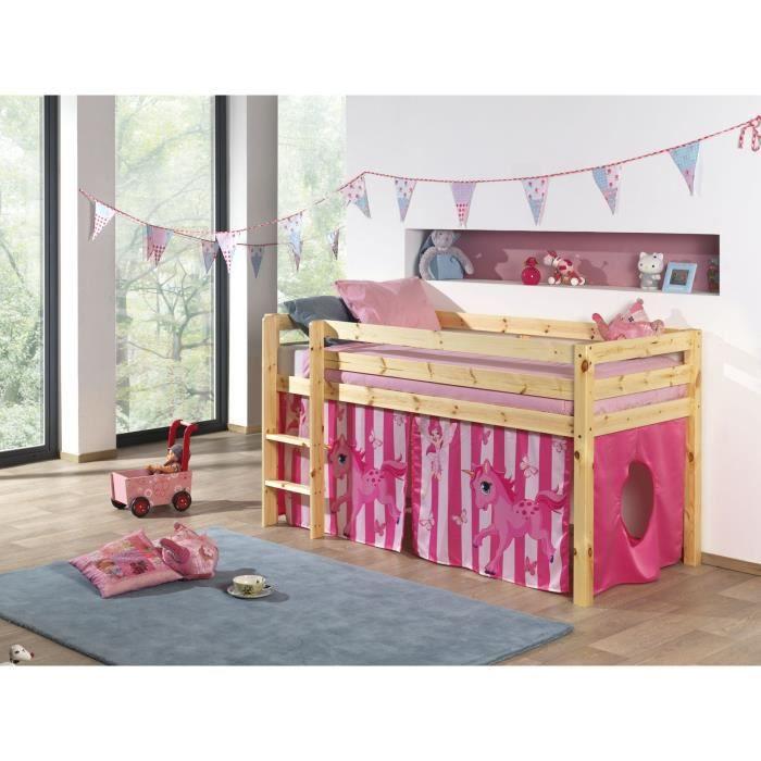 pino lit enfant mezzanine housse horse bois achat. Black Bedroom Furniture Sets. Home Design Ideas