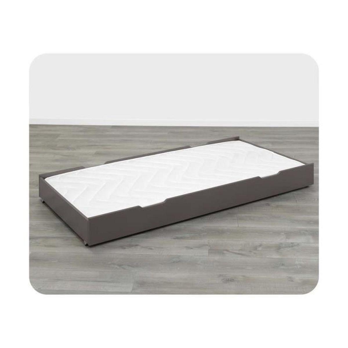 tiroir de lit eco bio 90x190 cm taupe achat vente. Black Bedroom Furniture Sets. Home Design Ideas
