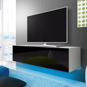flash meuble tv 165 cm blanc laque avec led bleue. Black Bedroom Furniture Sets. Home Design Ideas