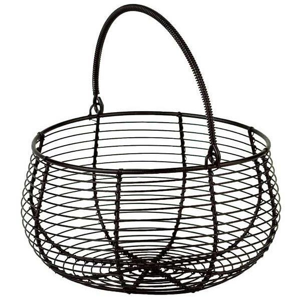 panier rond en fil de m tal noir forme panier salade. Black Bedroom Furniture Sets. Home Design Ideas