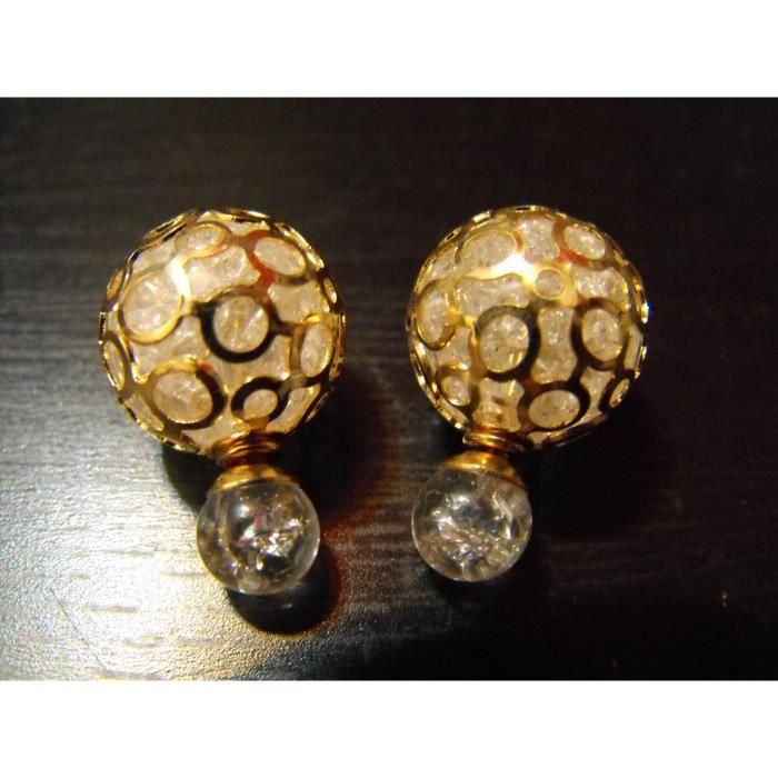boucle d 39 oreille double perle transparent dor achat vente boucle d 39 oreille boucle d 39 oreille. Black Bedroom Furniture Sets. Home Design Ideas