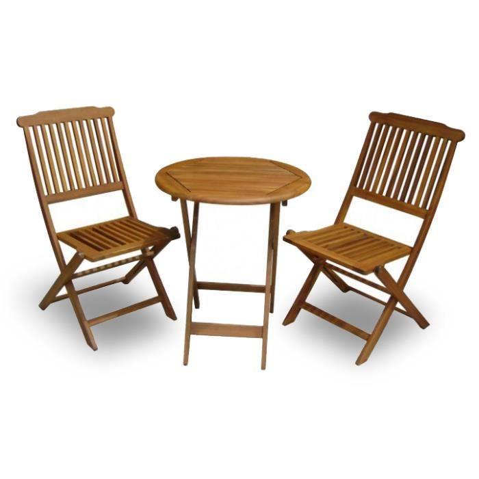 Meuble de jardin en eucalyptus 2 chaises achat vente for Achat meuble jardin