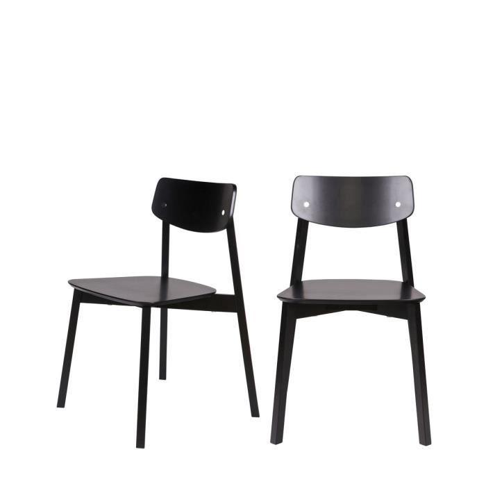 Lot de 2 chaises en bois laqu elfy couleur noir achat for Chaise en couleur