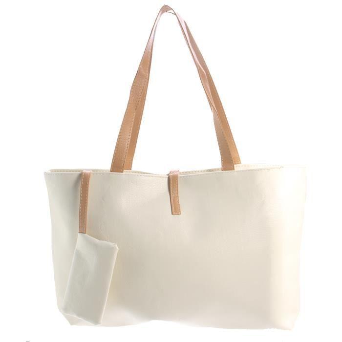 Sac A Main Blanc Pochette : Femme sac ? main pochette pu cuir bandouli?re epaule blanc