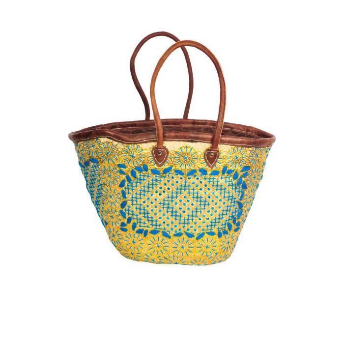 panier de plage brod enti rement fait main bleu ciel achat vente panier sac de plage. Black Bedroom Furniture Sets. Home Design Ideas