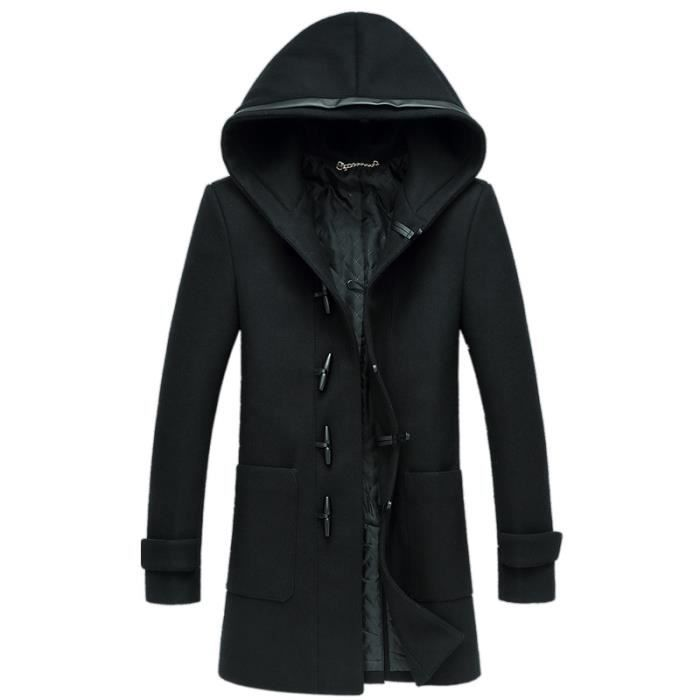 duffle coat noir long manteau blouson veste homme noir achat vente manteau caban cdiscount. Black Bedroom Furniture Sets. Home Design Ideas