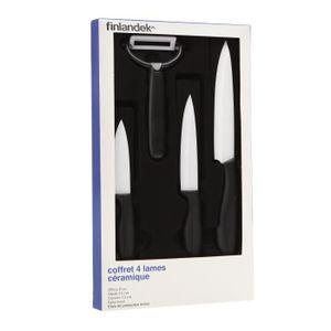 FINLANDEK lot 3 couteaux céramique + 1 éplucheur