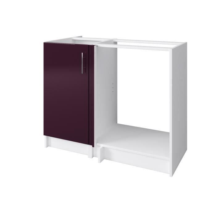 city meuble bas d 39 angle l 100 cm aubergine laqu achat. Black Bedroom Furniture Sets. Home Design Ideas