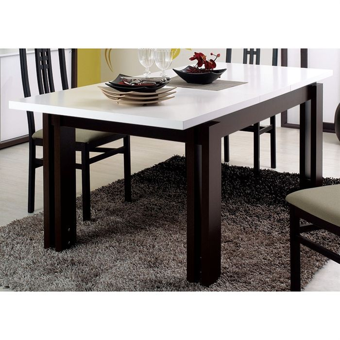 Como table rectangulaire 1 allonge weng blanc achat for Table de nuit wenge