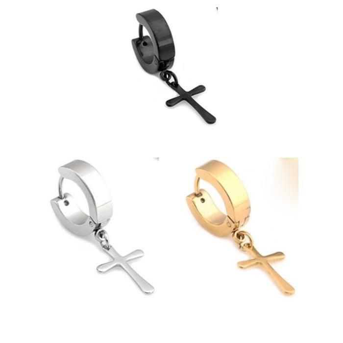 timelyo 1 boucle d 39 oreille croix jesus anneau acier inoxydable bijoux homme femme ado achat. Black Bedroom Furniture Sets. Home Design Ideas