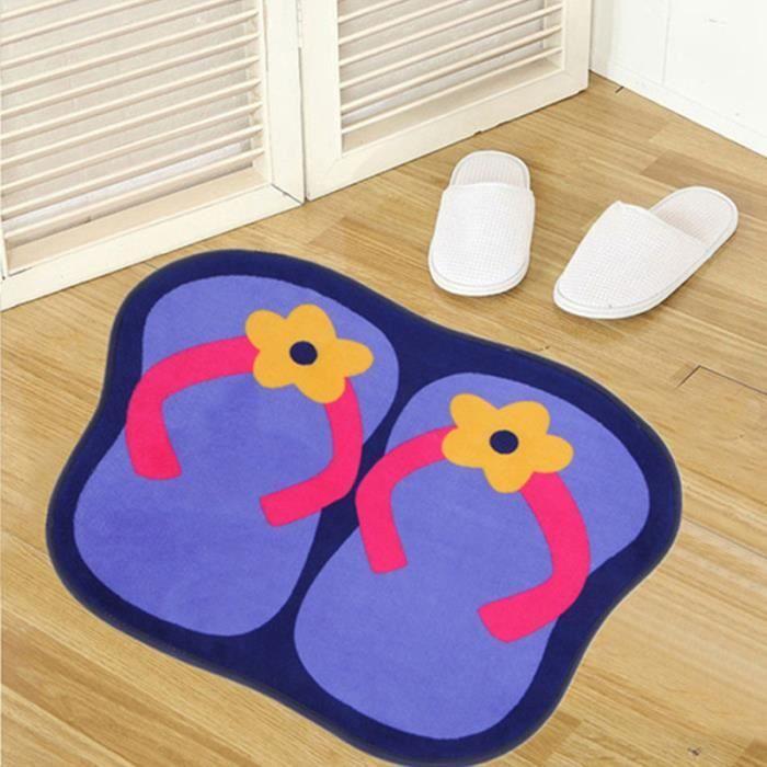 Tapis Salle de bain Deco Tong Design Coton Bleu - Achat / Vente ...