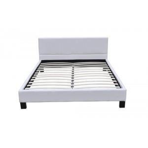 Lit double 180x200 cm cro te de cuir blanc cr achat vente structure de - Lit et sommier 180x200 ...