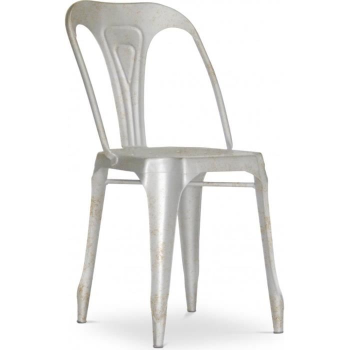 chaise vintage multipl 39 s m tal gris achat vente chaise gris cdiscount. Black Bedroom Furniture Sets. Home Design Ideas
