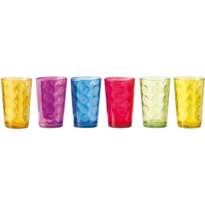 6 verres eau color s sirocco achat vente verre. Black Bedroom Furniture Sets. Home Design Ideas