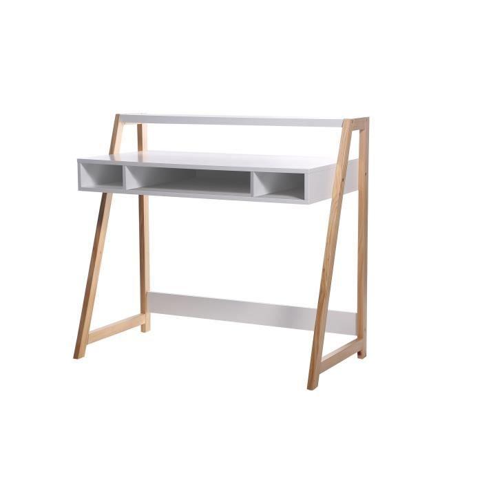 Stan bureau 100 cm laqu blanc achat vente bureau for Meuble bureau 100 cm