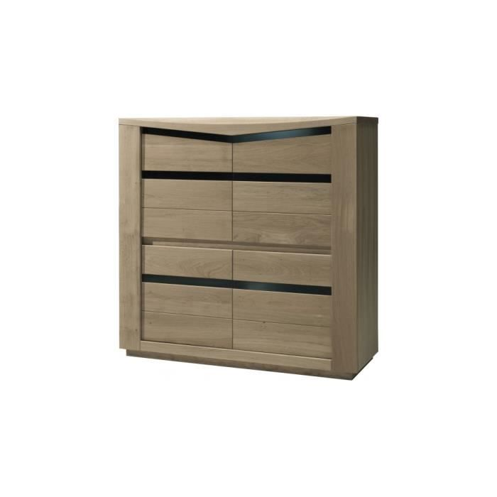 meuble de rangement ch ne taupe 4 portes d cors verre noir achat vente salle manger meuble. Black Bedroom Furniture Sets. Home Design Ideas