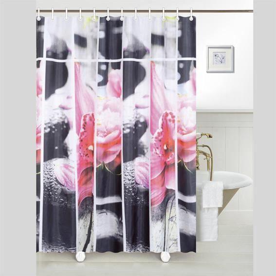 rideau de douche galet rose premium achat vente rideau de douche cdiscount. Black Bedroom Furniture Sets. Home Design Ideas