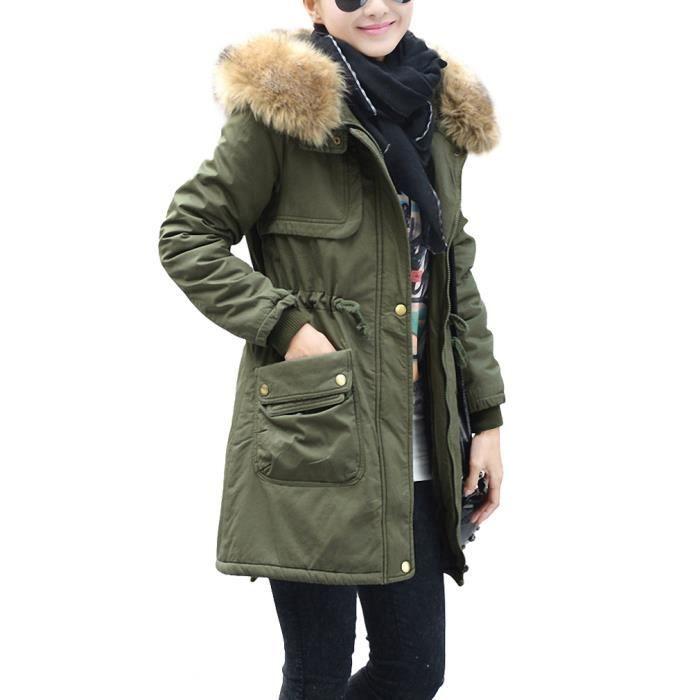 femme veste parka manteau hiver long epais avec vert. Black Bedroom Furniture Sets. Home Design Ideas