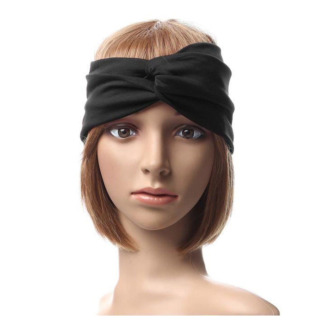 femmes bandeau serre t te pour cheveux extensible lastique noir achat vente bandeau serre. Black Bedroom Furniture Sets. Home Design Ideas