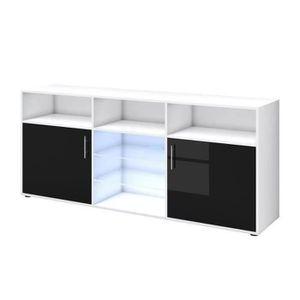 KORA Buffet avec LED noir brillant et blanc mat - 180 cm