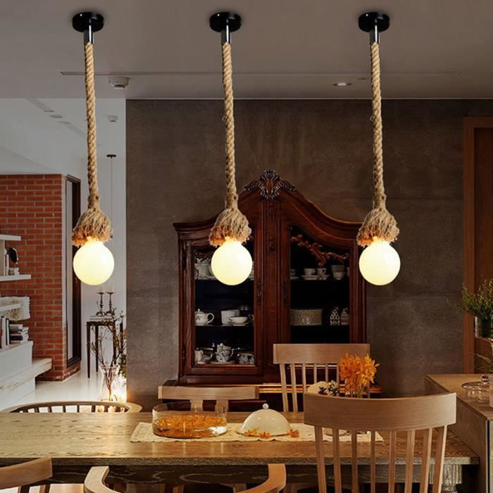 1 m tre 1 heads corde de lustre lampe suspension lumi re barre de styles rural tissage la main. Black Bedroom Furniture Sets. Home Design Ideas