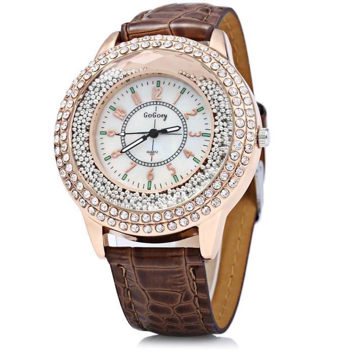 Montre quartz cristal diamant gogoey avec bracelet en for Diamant coupe miroir