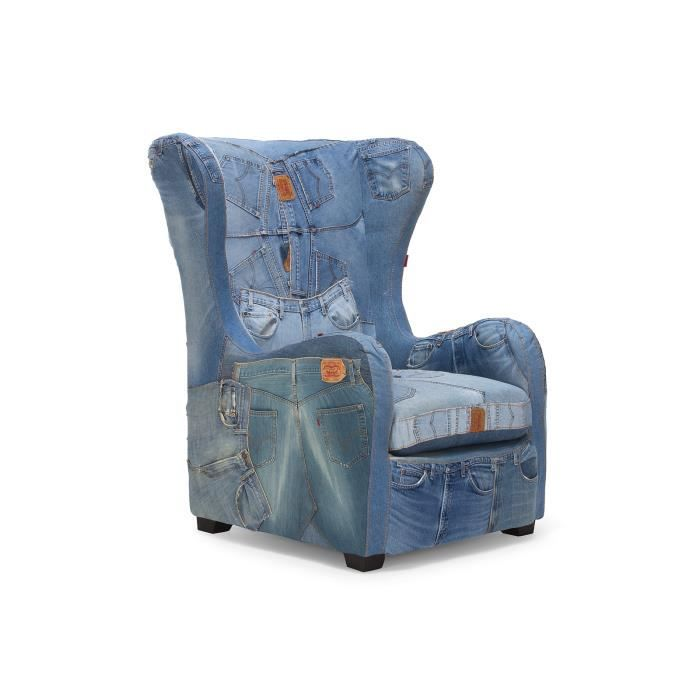 fauteuil oreilles layton en tissu bleu jeans massivum. Black Bedroom Furniture Sets. Home Design Ideas