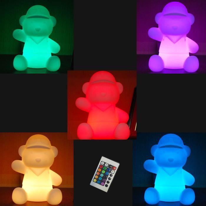 lampe led de table forme nounours telecommande 16 couleurs achat vente lampe led de table. Black Bedroom Furniture Sets. Home Design Ideas
