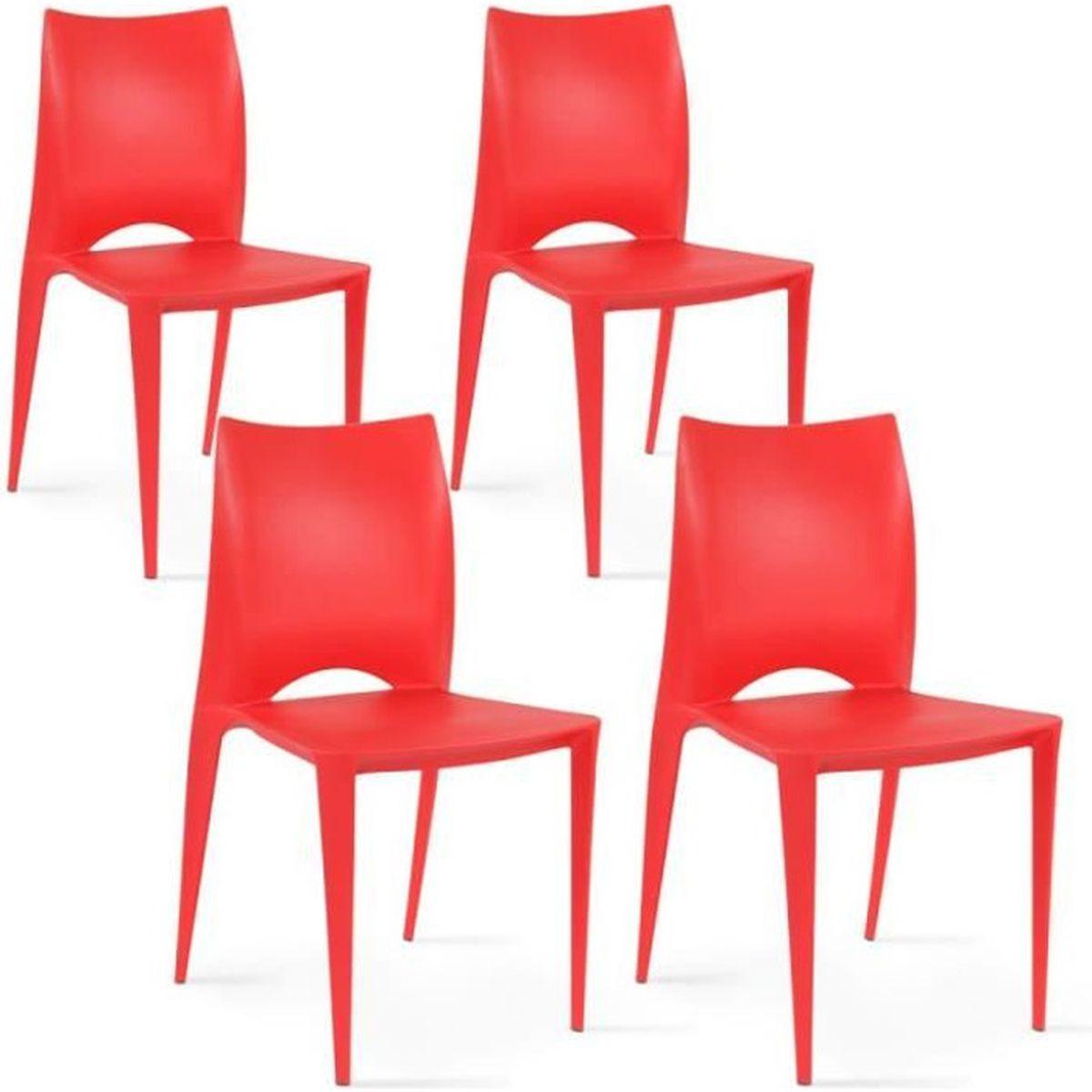 4 chaises plastique rouge achat vente 4 chaises plastique rouge pas cher les soldes sur. Black Bedroom Furniture Sets. Home Design Ideas