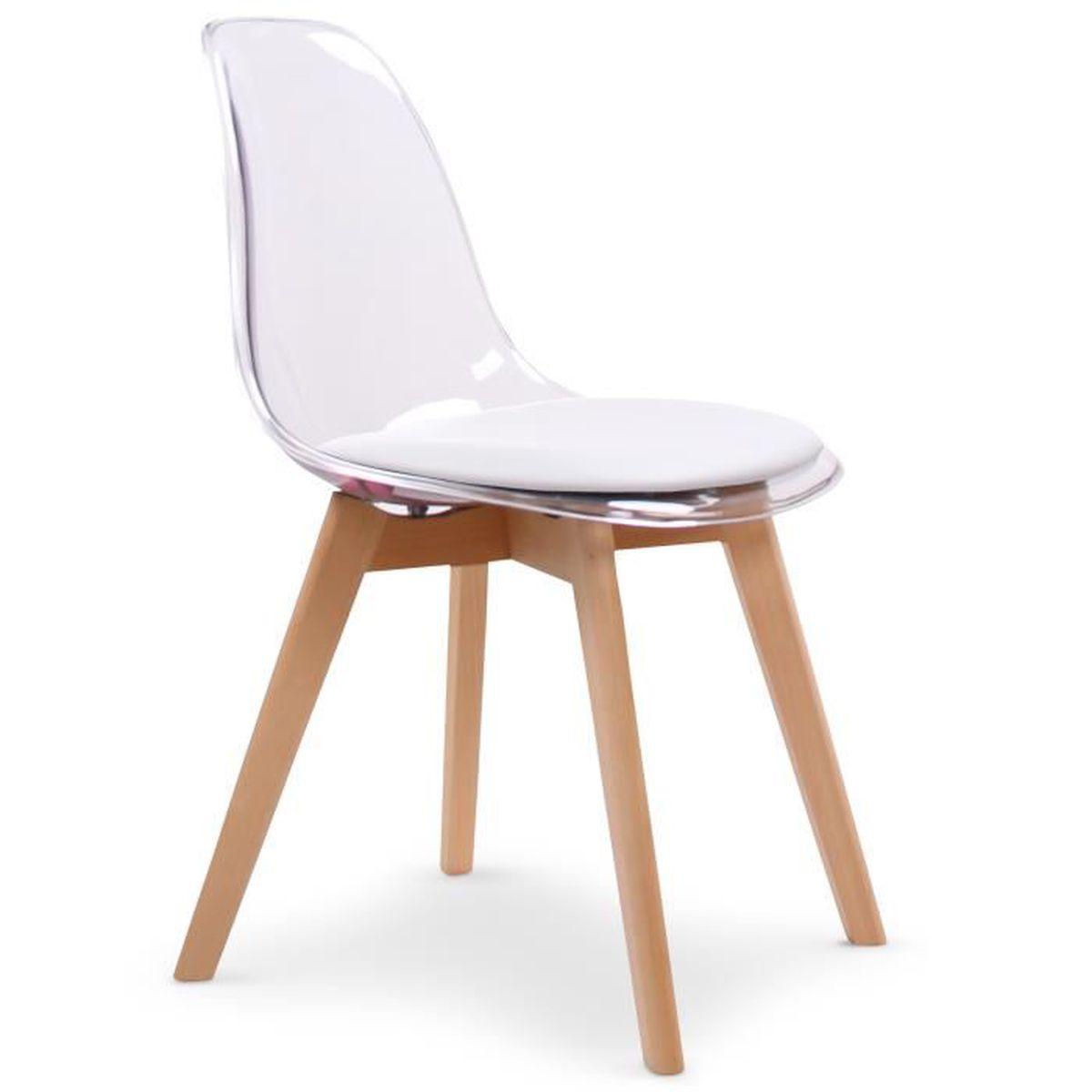 lot de 2 chaises plexi style scandinave emma blanc achat. Black Bedroom Furniture Sets. Home Design Ideas