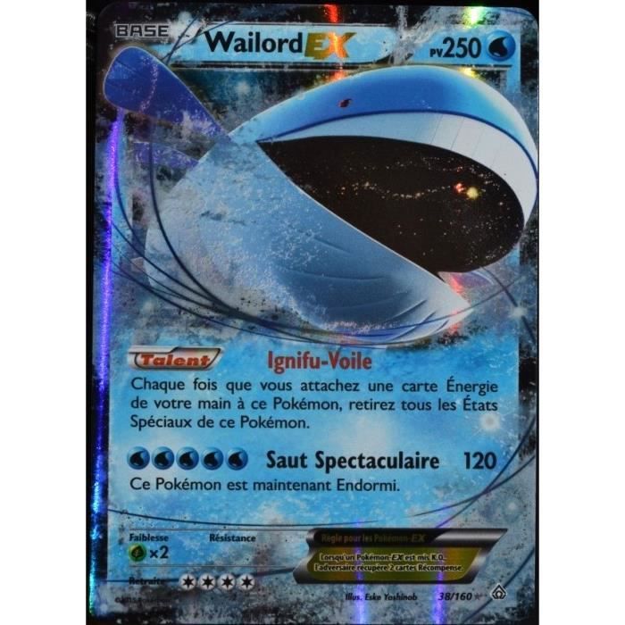 Carte pok mon 38 160 wailord ex 250 pv s rie xy achat - Carte pokemon wailord ...