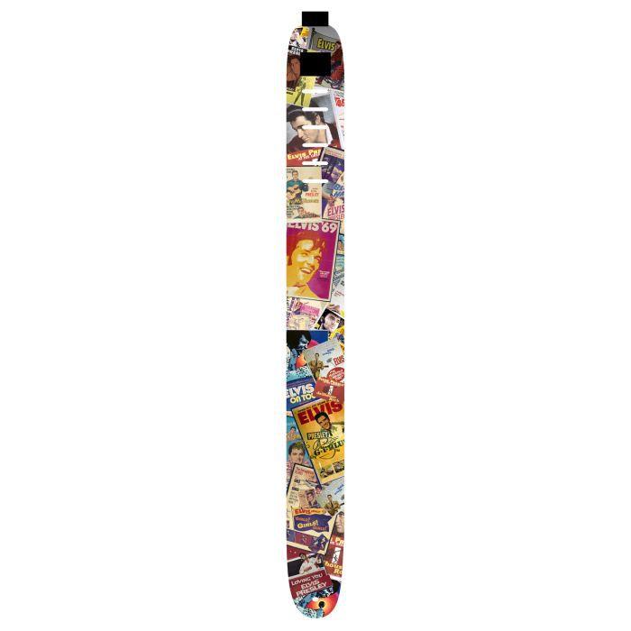 """Sangle guitare en cuir, largeur 8,5 cm, Elvis Presley , motif """"Album"""