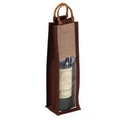 sac 1 bouteille en toile de jute marron et naturel grande fen 234 tre pvc transparente poign 233 es