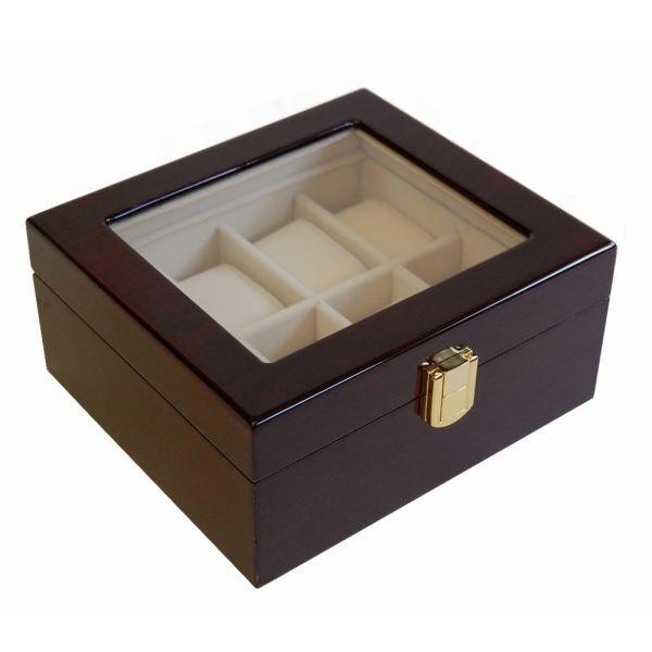 coffret boite 8 montres bois laquee acajou achat vente. Black Bedroom Furniture Sets. Home Design Ideas