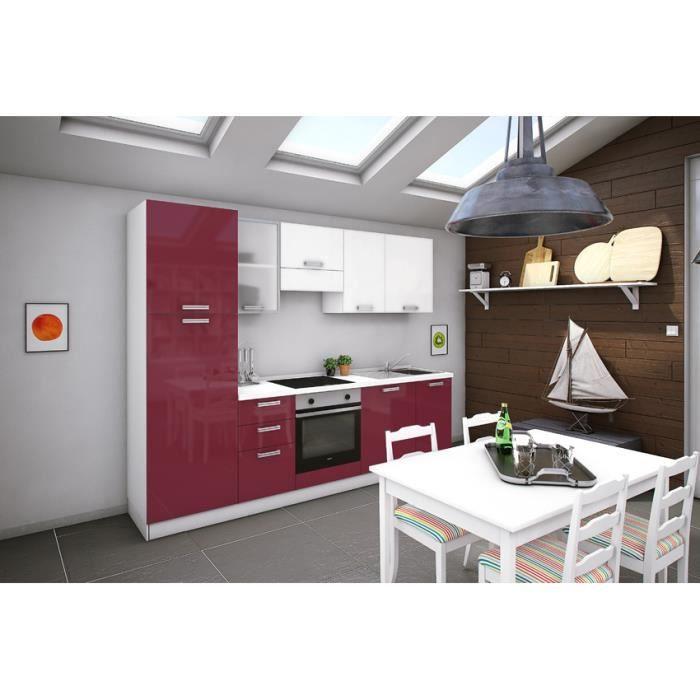 Tucana blanc rouge cuisine tout inclus 273 cm achat vente cuisine compl t - Cuisine avec electromenager inclus ...