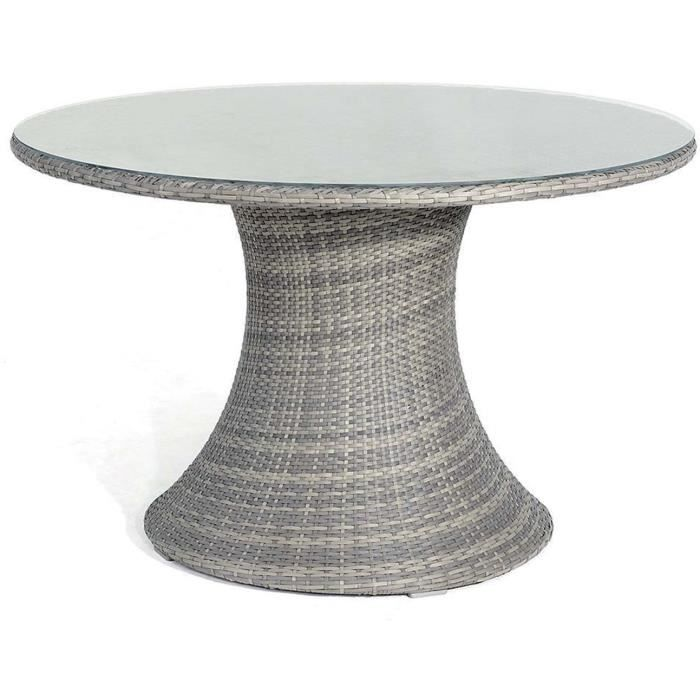 Table ronde en r sine tress e vulcano gris achat vente table de jardin ta - Table ronde en resine tressee ...