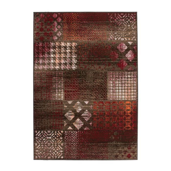 Tapis de salon patchwork design rouge 160x230 cm achat for Salon patchwork