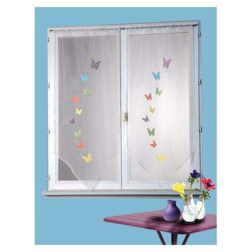 vitrage paire en organza papillons brod s coule achat vente rideau soldes d hiver d s. Black Bedroom Furniture Sets. Home Design Ideas