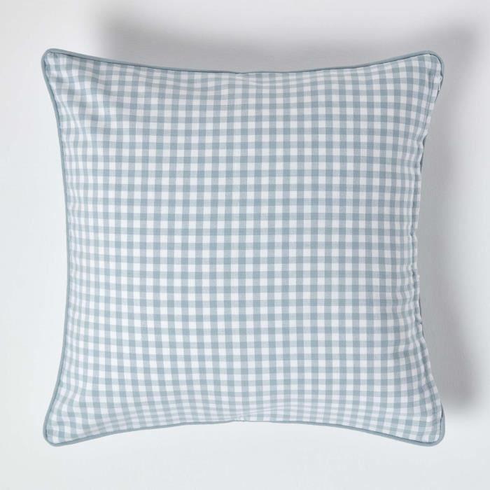 coussin d houssable vichy bleu 60 x 60 cm achat vente housse de coussin cdiscount. Black Bedroom Furniture Sets. Home Design Ideas